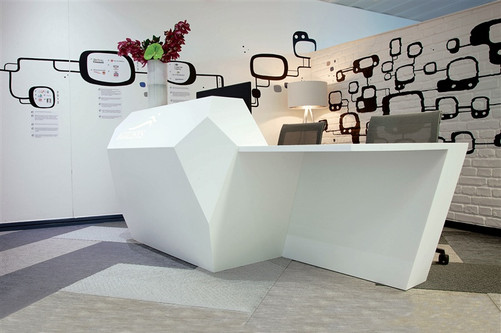 Glacier  Designer White Corian Rection Desk Bespoke