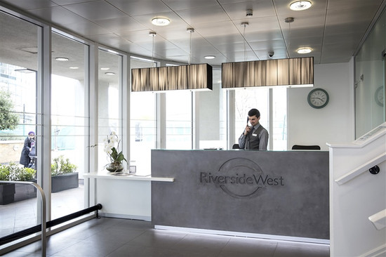 Concrete reception Desk with rebated logo