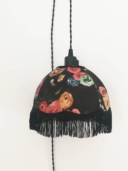 """Baladeuse """"Accroche-Moi""""noire fleurs colorées"""