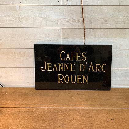 """Plaque en marbre gravée """"Café Jeanne d'Arc Rouen"""""""