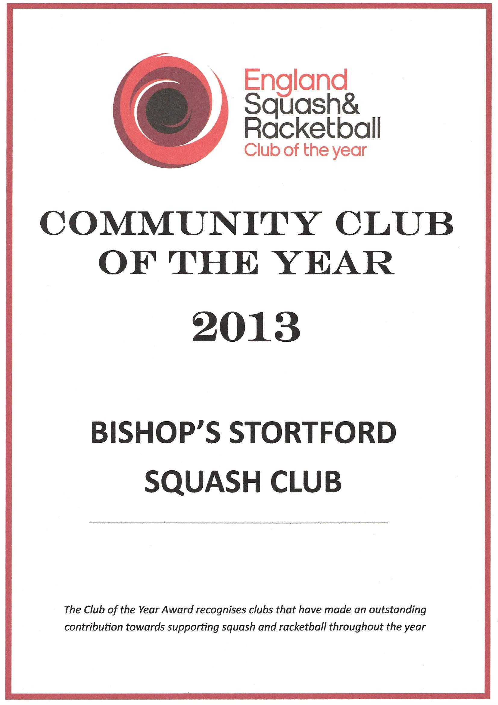 England Squash Club of Year