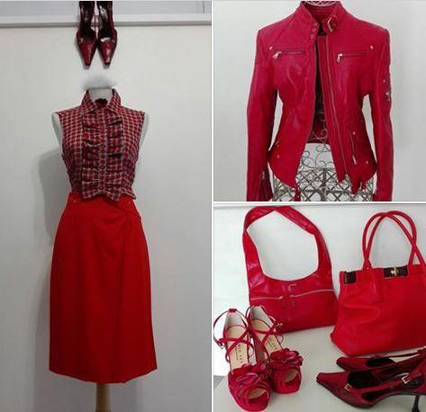 camicia di Moschino, gonna Versace, giubbino in pelle di Diesel, borsa Fendissime e borsa Furla, scarpe Prada