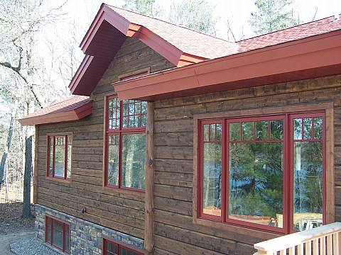 Wood Siding with Red Accent Trim