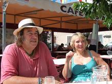 with Ellen at Cafe des Allees, Pouzolles 2008