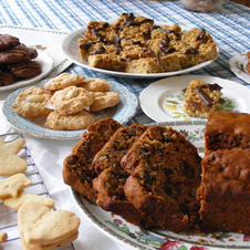 Date cake and selection