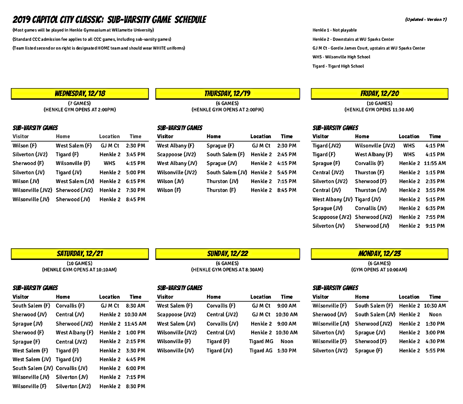 2019 CCC Sub-Varsity Schedule v7 UPDATED