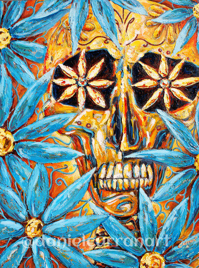 Craneo Con Flores Azules