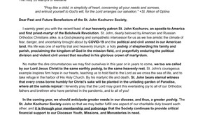 +ARCHBISHOP PETER APPEALS TO PAST AND FUTURE BENEFACTORS TO HELP DIOCESE MEET CHALLENGES OF 2021