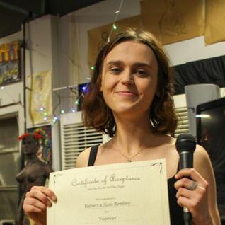 Rebecca Ann Bentley winning award audience award at Studio 66 Film Night.