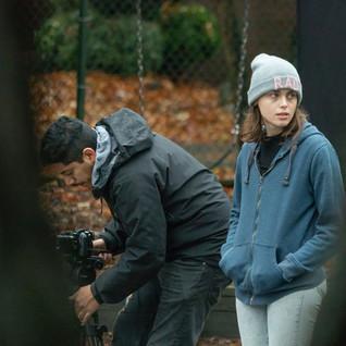 Rebecca Ann Bentley on set of Letting Go (short film).