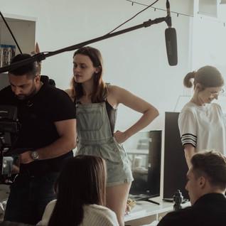 Rebecca Ann Bentley on set of Locked In (short film).