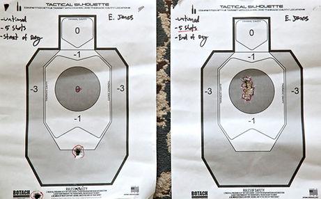 Advanced Marksmanship Handgun Class Target, Before and After