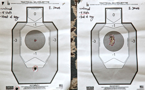 Advanced Marksmanship Handgun Class Target, Before and After