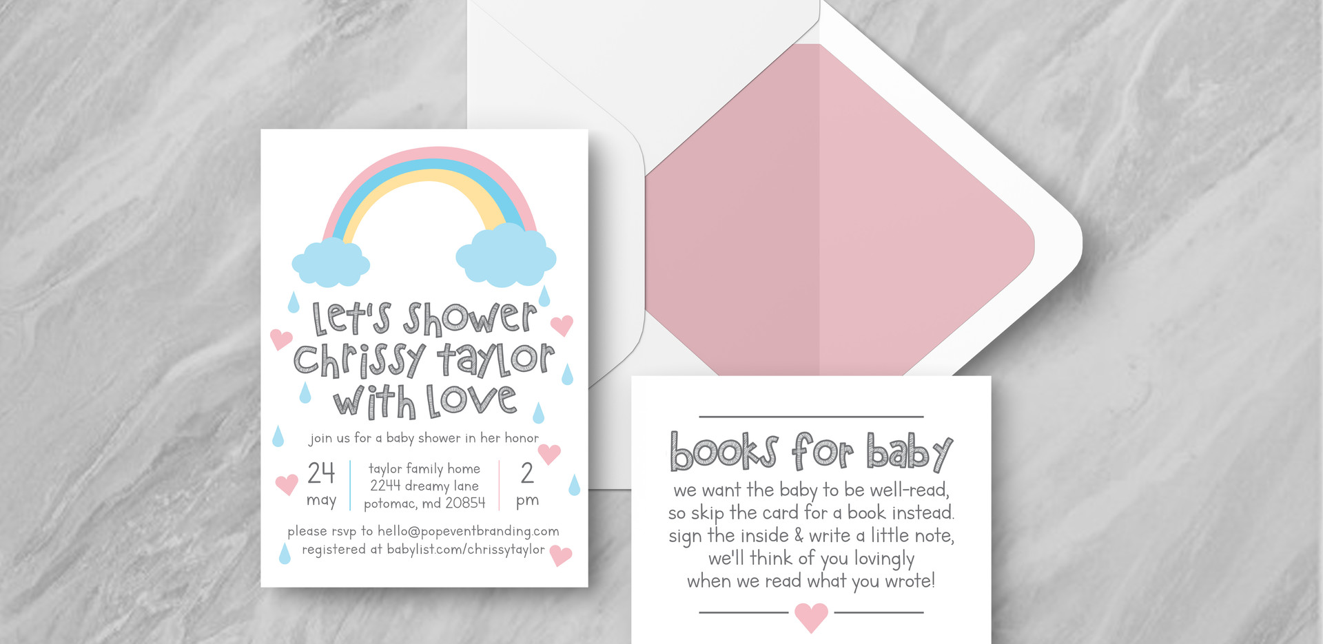 Invite + Books + Envelope - Pink
