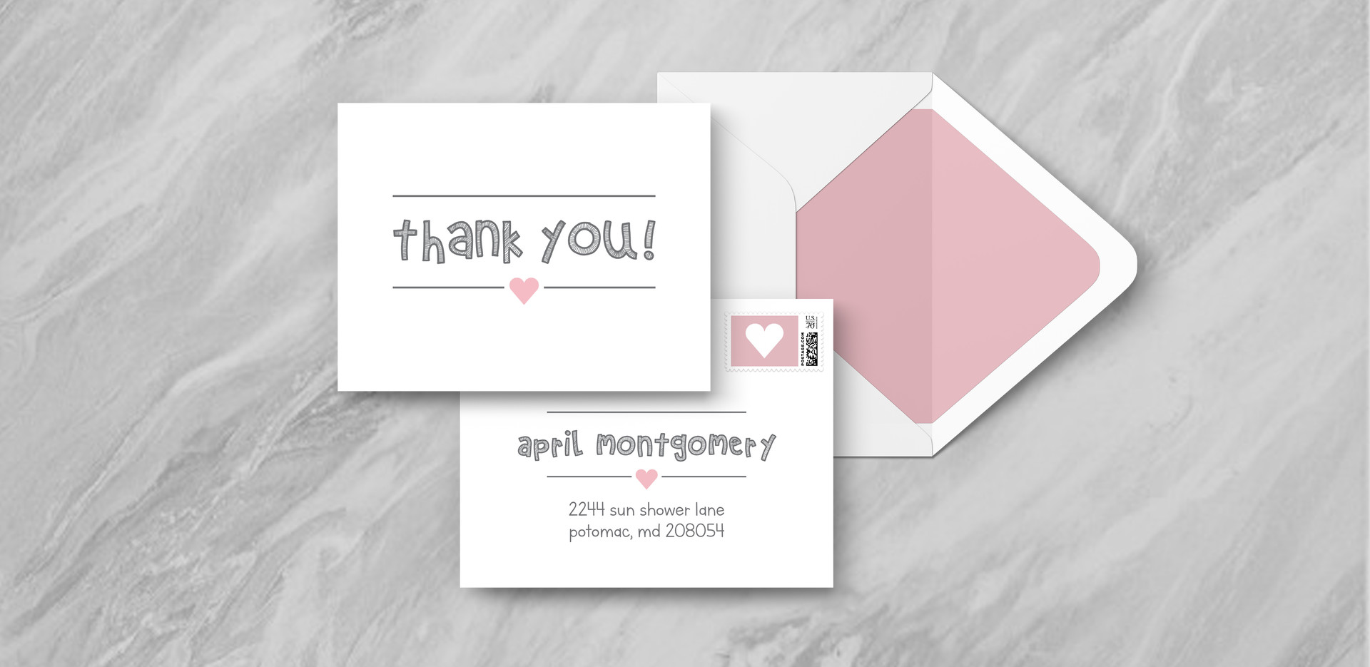 Thank You + Envelope - Pink