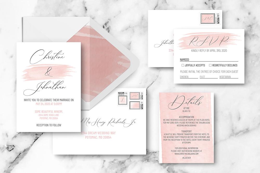 Watercolor Romance Wedding Invitation Suite Pink