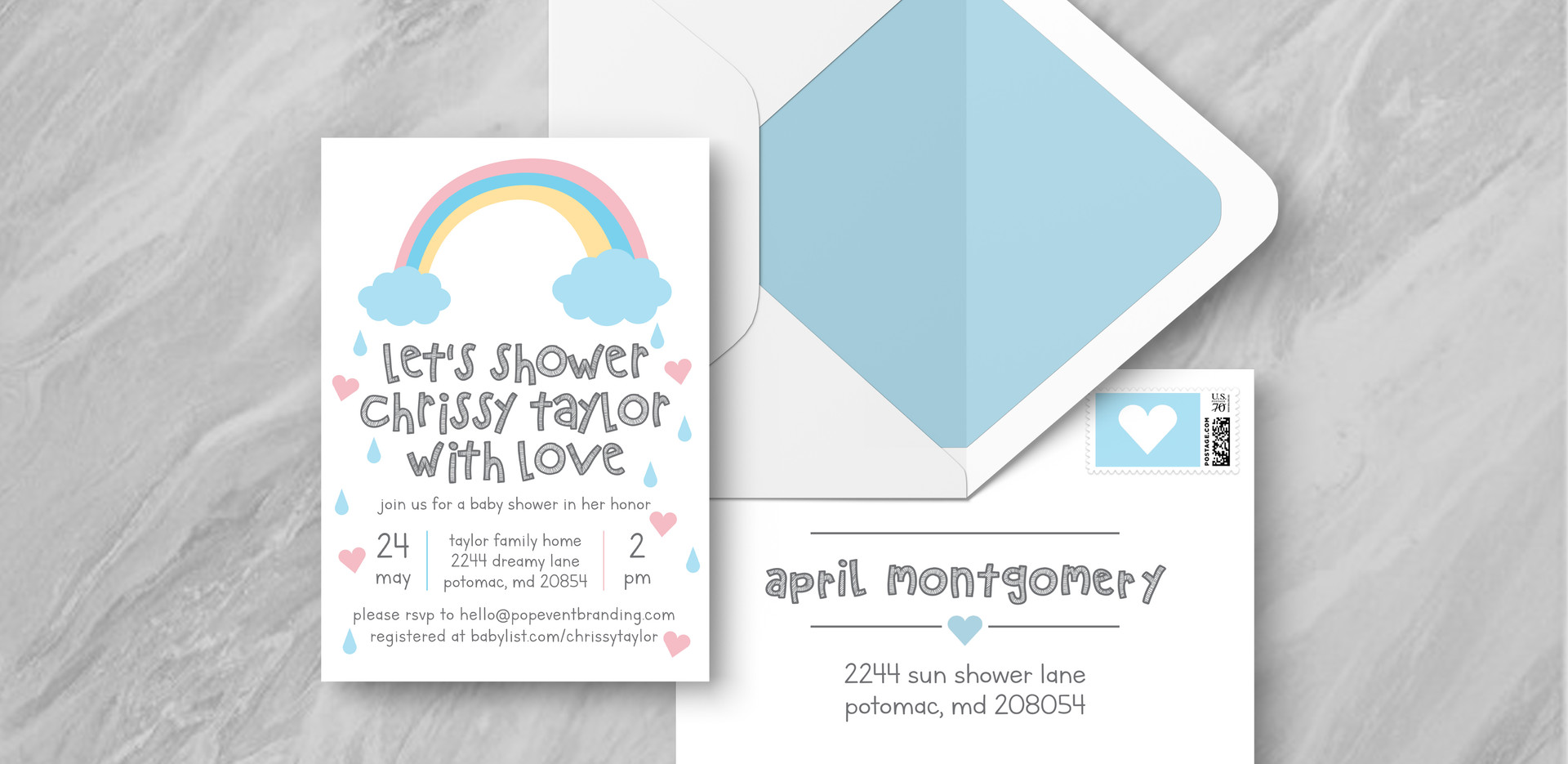 Invite + Envelope - Blue
