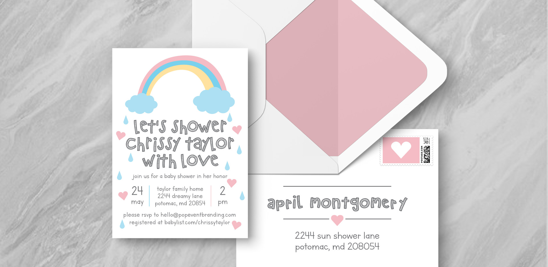 Invite + Envelope - Pink