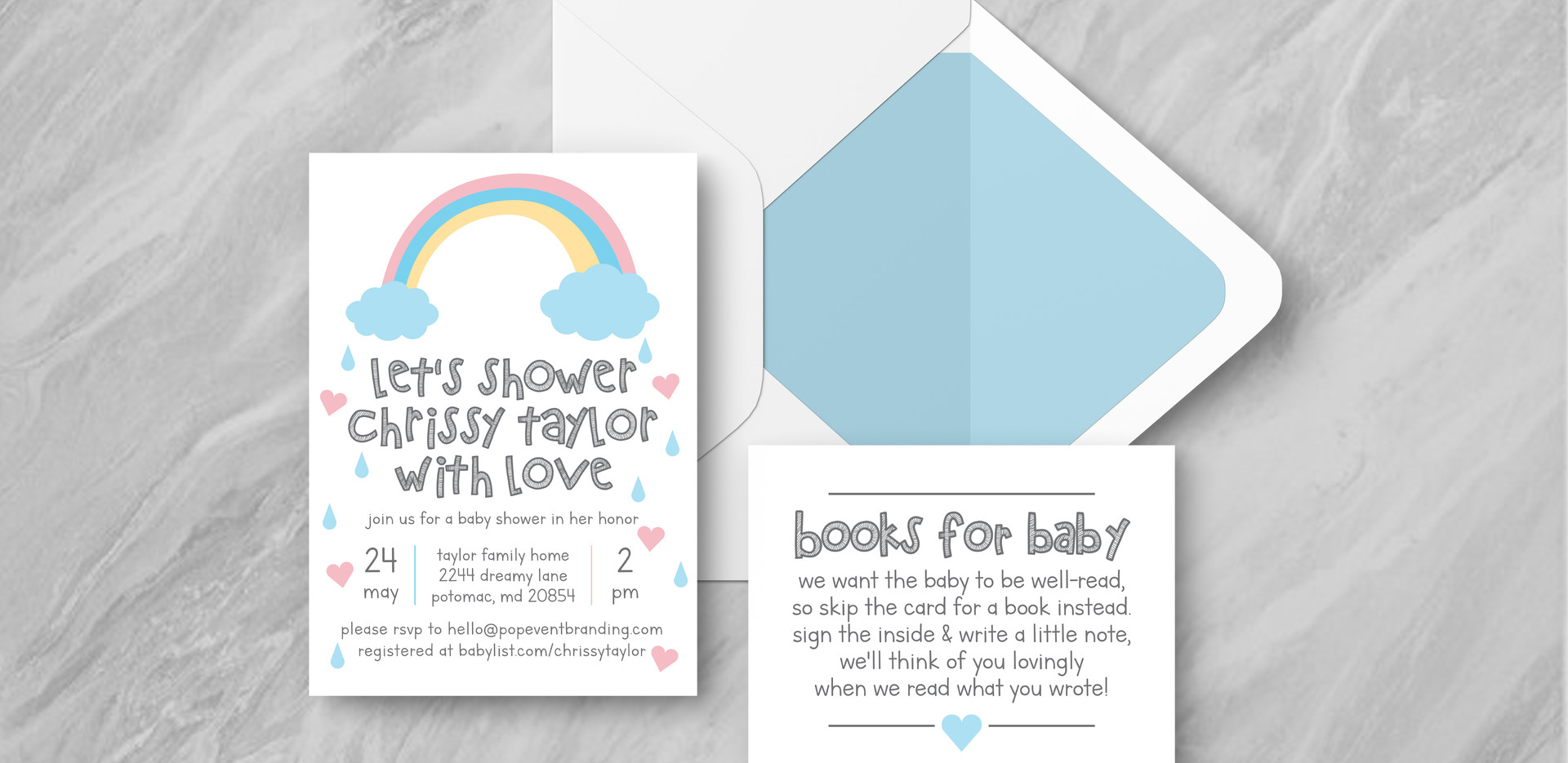 Invite + Books + Envelope - Blue
