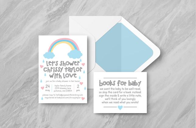 Invite + Books + Envelope - Blue