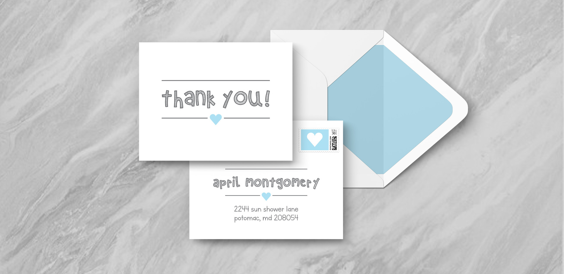 Thank You + Envelope - Blue