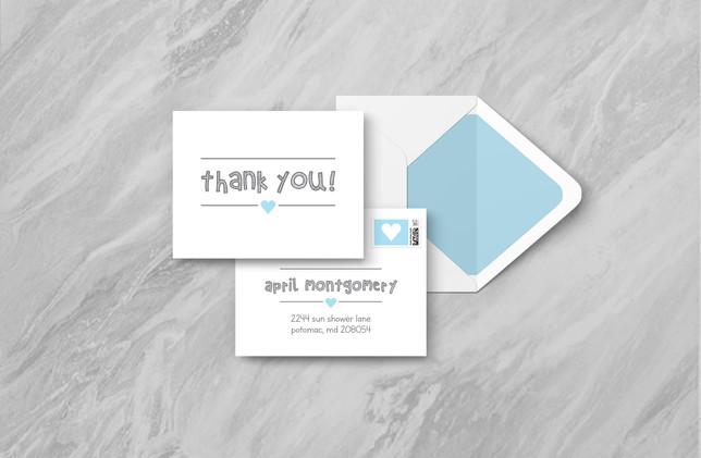 Thank You + Envelope - Blue