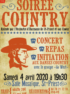 Soirée Country le samedi 4 avril 2020 à 19h30, Espace Mosaïque