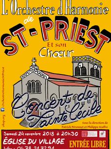 Concert de Ste Cécile : samedi 24 novembre 2018 à 20h30
