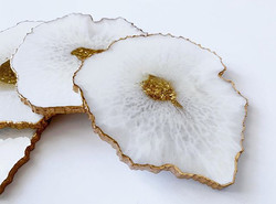 White/Gold Geode Coasters