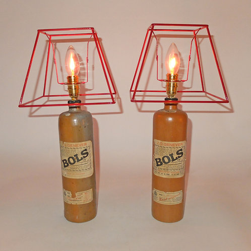 Pair of Vintage Bols Gin Bottle Lamps