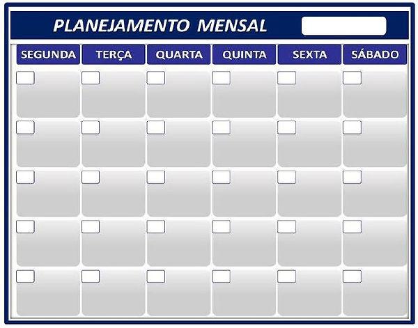 Quadro de Planejamento Mensal