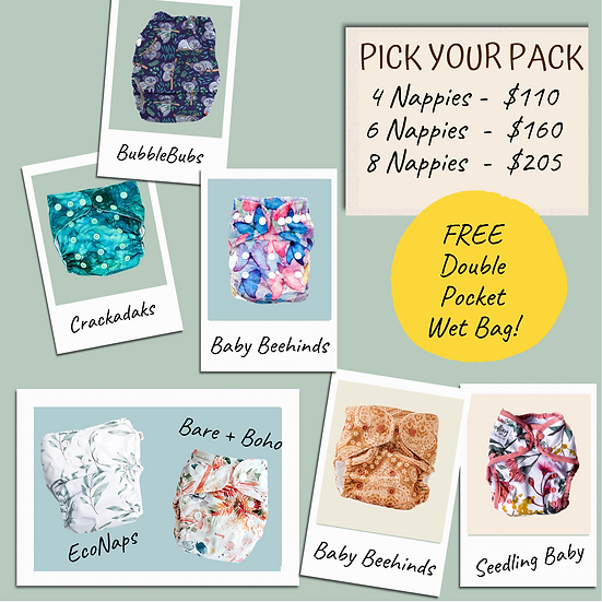 Cloth Nappy Trial Packs + FREE Double Wet Bag