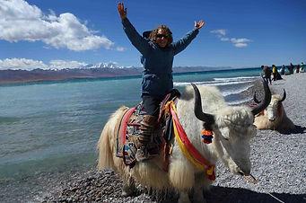 Dr. Janice Zarro Brodman at holy Lake Namtso in Tibet.