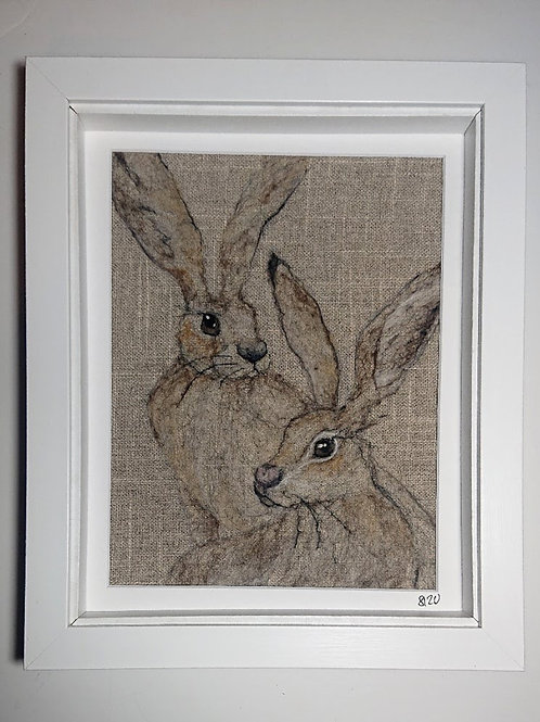 Twin Hares Needle Felt Picture