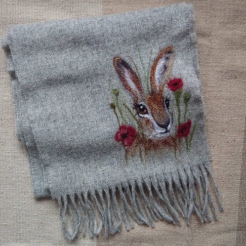 Hare and Poppies Merino Scarf