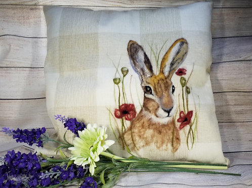 Hare and Poppies Cushion Cover