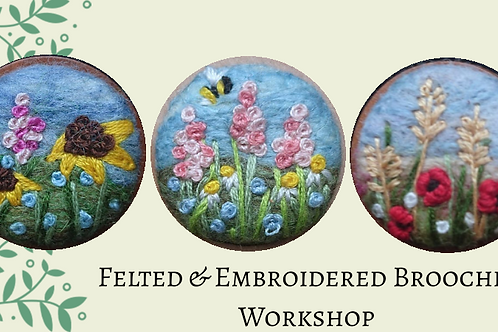 Felted & Embroidered Brooches at Studio 62 - Deposit only