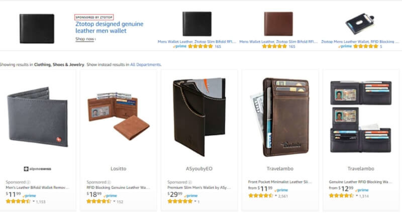 Amazon Sponsored Product Listings sample