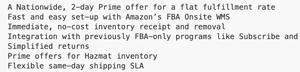 amazon FBA on-site - summary