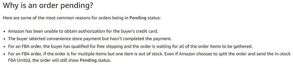 pending orders on amazon