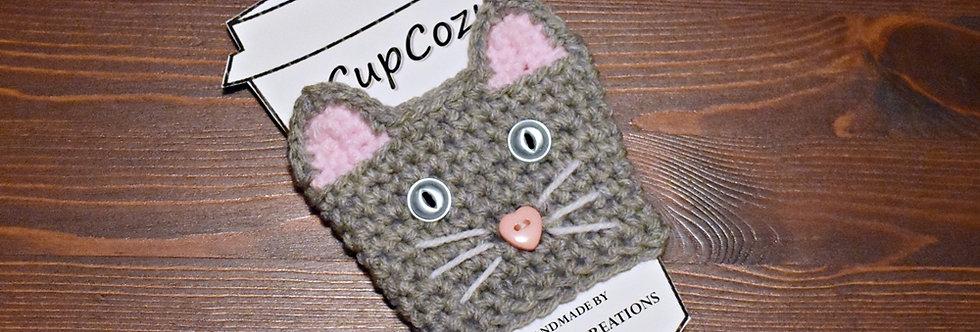 Grey Cat Cup Cozy