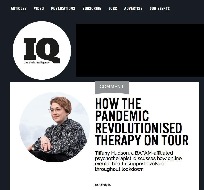 Therapy On Tour // IQ Magazine, 2021