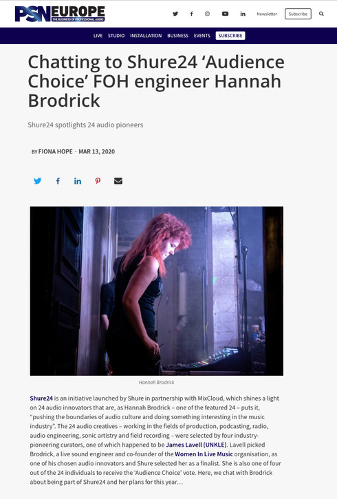 Hannah Brodrick // PSN Europe, 2020