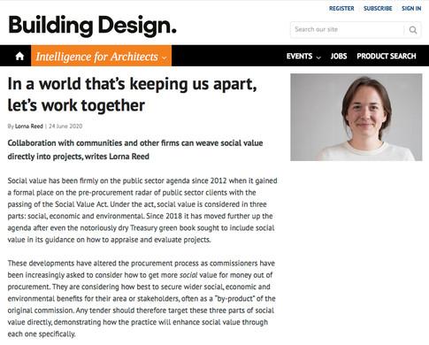 Lorna Reed // Building Design, 2020