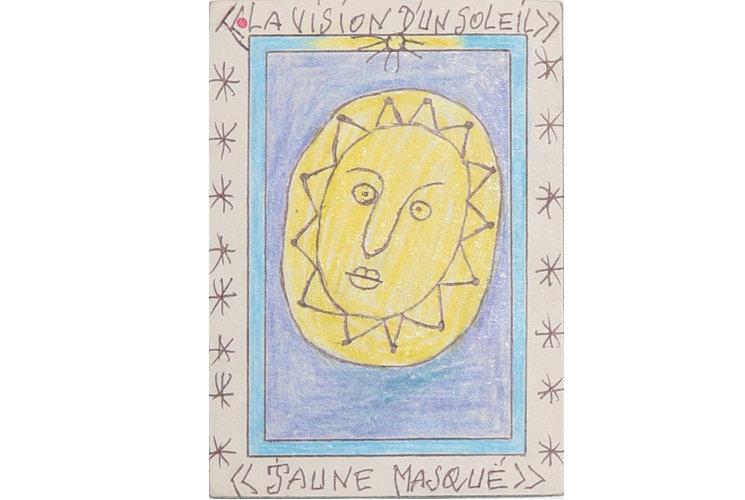 Frédéric Bruly Bouabré La vision d'un soleil/ jaune masquée, 2005