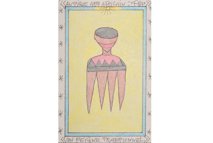 """Frédéric Bruly Bouabré Antique art africain """"fra""""/ un peigne traditionnel, 2007"""