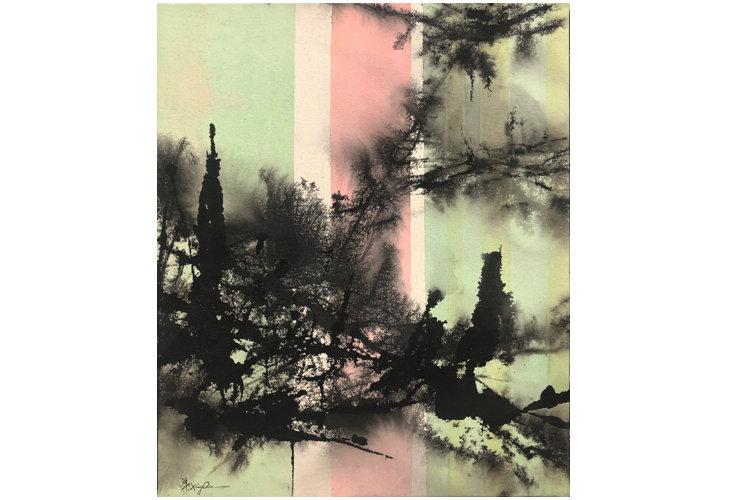 Ye Xing-Qian Bandes verticales vert rose, 2020