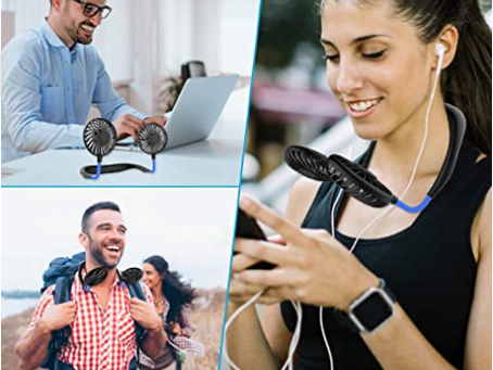 Hands Free Portable Neck Fan - Rechargeable Mini USB Personal Fan Battery Operated with 3 Level
