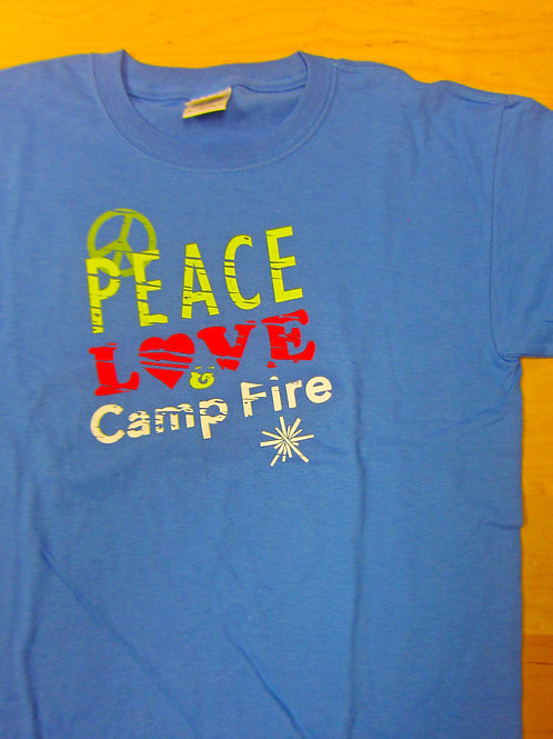 Youth Peace Love and Camp FIre T-Shirt Size XLarge