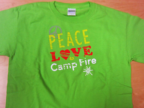 Youth Peace Love and Camp FIre T-Shirt Size Large